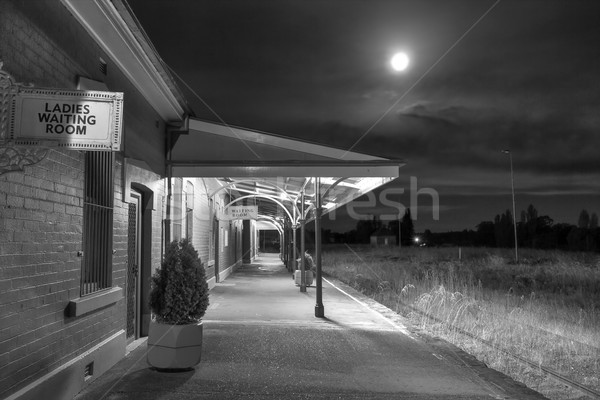 Cowra Railway Station under a full moon Stock photo © lovleah
