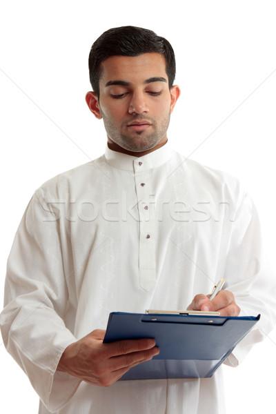 Kisebbségi üzletember ír hagyományos arab közel-keleti Stock fotó © lovleah