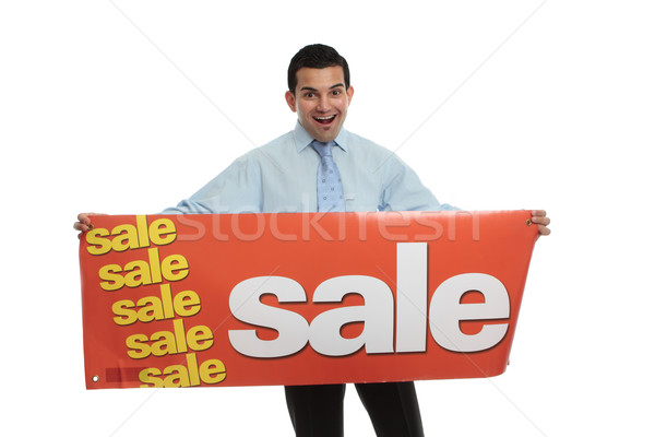 Excited man  holding a Sale sign Stock photo © lovleah