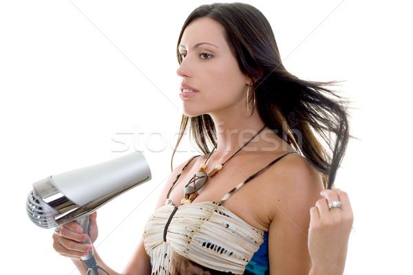 женщину фен брюнетка женщины волос красоту Сток-фото © lovleah