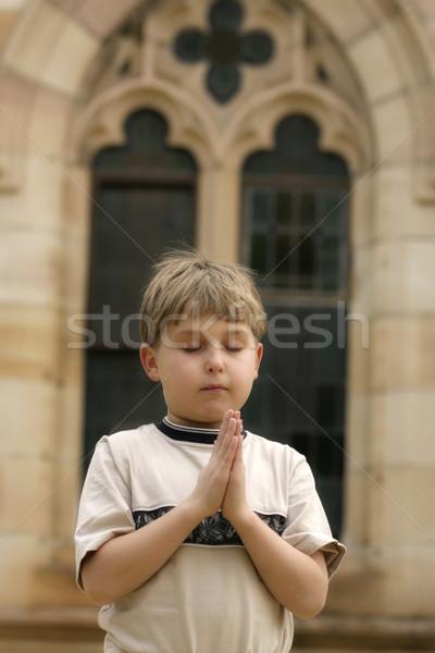 Erkek dua dua eden yumuşak Bina çocuk Stok fotoğraf © lovleah