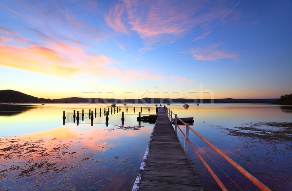 Colourful sunset and water reflections at Yattalunga Australia Stock photo © lovleah