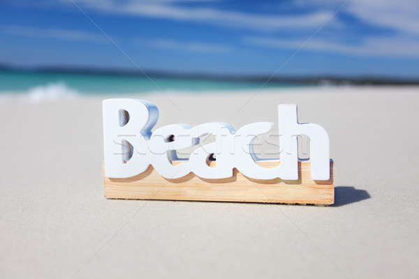 The word beach on the seashore Stock photo © lovleah