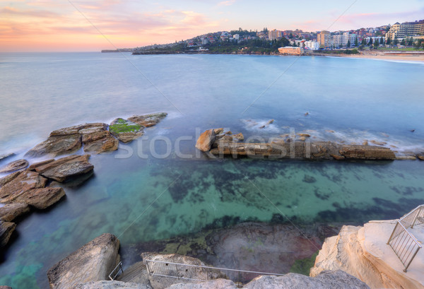 Looking down into Giles Baths Coogee sunrise Stock photo © lovleah