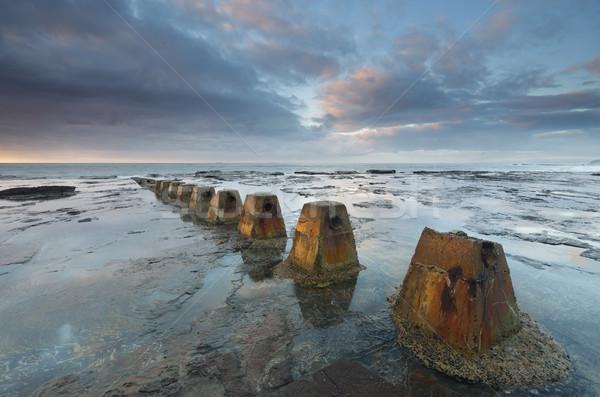 De manhã cedo luz rocha prateleira água oceano Foto stock © lovleah