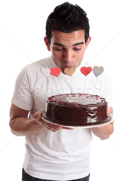 Romantikus férfi csók szív torta egy Stock fotó © lovleah