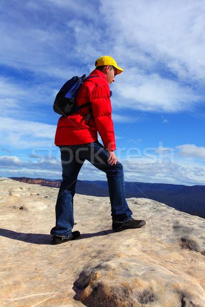 Hegy természetjáró felső túrázik tájkép szépség Stock fotó © lovleah