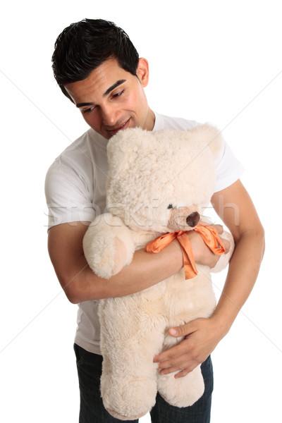 Man teddy knuffelen teddybeer witte Stockfoto © lovleah