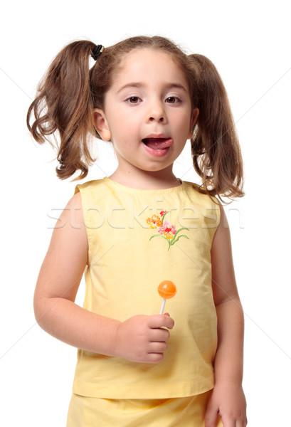 Kislány ajkak finom visel citromsárga haj Stock fotó © lovleah