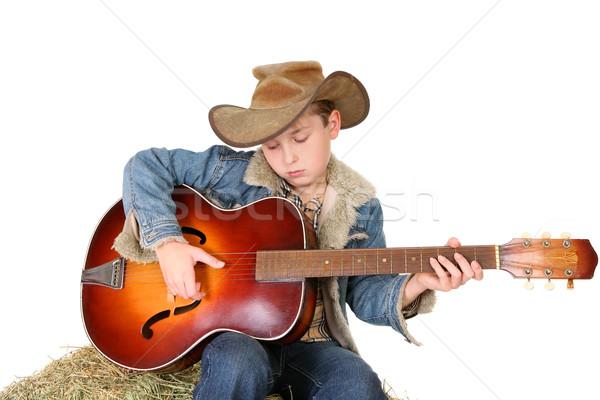 少年 ギター チューン カウボーイ 帽子 ストックフォト © lovleah