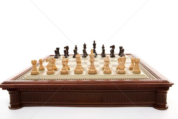 Satranç tahtası satranç oynama parçalar hazır Stok fotoğraf © lovleah