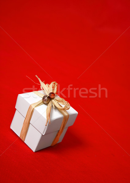 Gift box presentt tied with raffia and beads Stock photo © lovleah