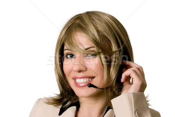 Segítség asztal kezelő mosolyog női személyzet Stock fotó © lovleah