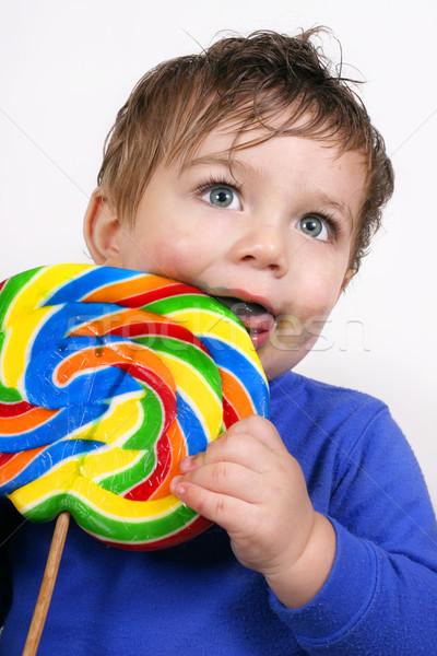 Kind eten groot lolly weinig jongen Stockfoto © lovleah