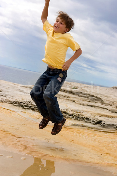 Fun Boy Jump for Joy Stock photo © lovleah