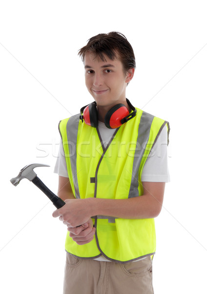 Jeunes Teen apprenti constructeur marteau Photo stock © lovleah