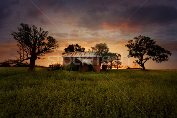 Sunset Old Abandoned Farm House Stock photo © lovleah