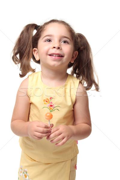 Happy smiling preschool girl in pigtails Stock photo © lovleah