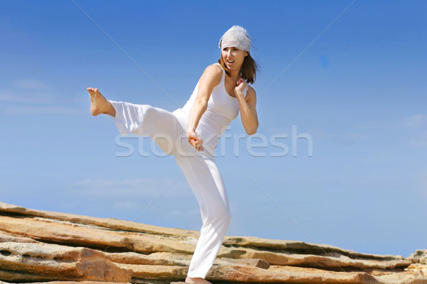 Defensie karate kick groot hoog groot Stockfoto © lovleah