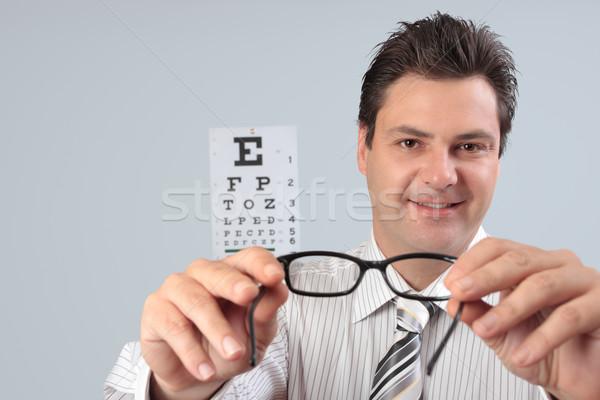 Optometrikus tart szem keret szemüveg szemüveg Stock fotó © lovleah