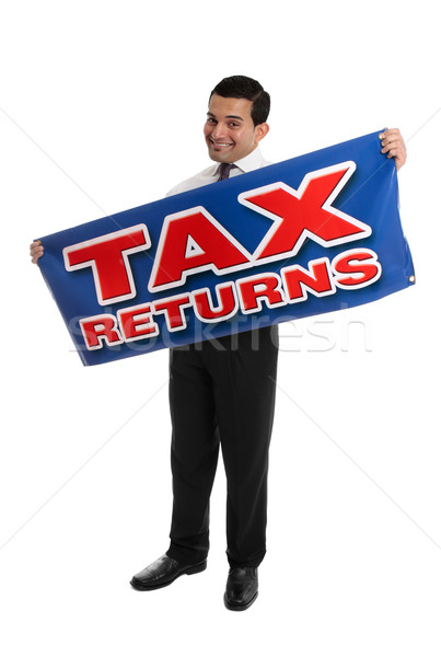Smiling Accountant or Businessman with sign Stock photo © lovleah