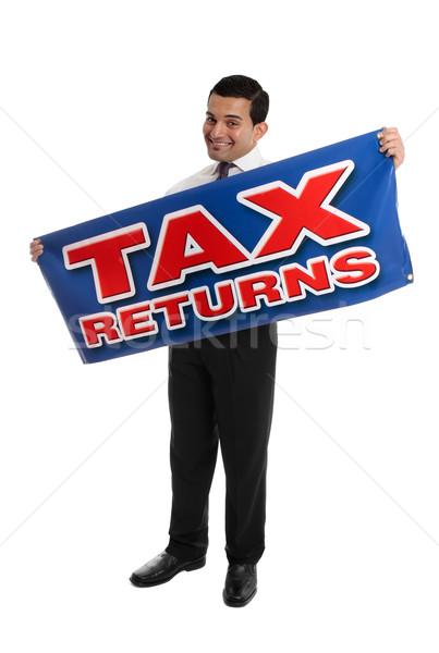 Sorridente contador empresário assinar auditor Foto stock © lovleah