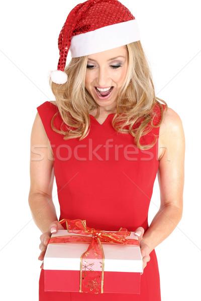 Encantado menina dom natal mulher Foto stock © lovleah