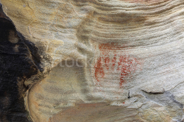 Prehistoric aboriginal hand print using red ochre Australia Stock photo © lovleah