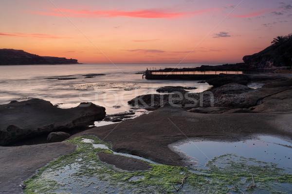 Madrugada primavera piscina nascer do sol ondas cenário Foto stock © lovleah