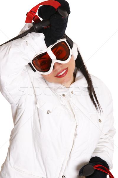 Güzel kadın kayakçı Stok fotoğraf © lovleah