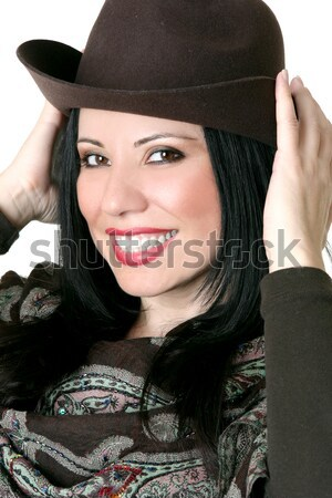 Beautiful cowgirl country girl wearing hat Stock photo © lovleah