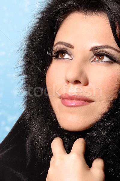 Kadın kış güzellik güzel esmer Stok fotoğraf © lovleah