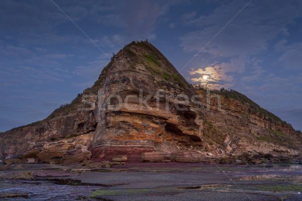 Moon set at Turimetta headland northern beaches Stock photo © lovleah