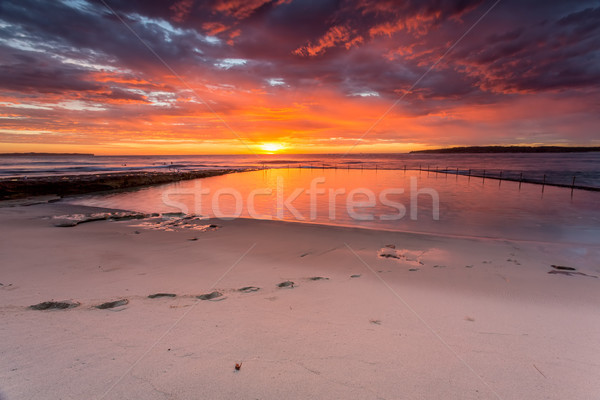 Glorious sunrise and ocean rock pool beach Cronulla Stock photo © lovleah