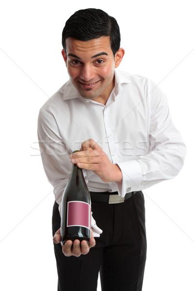 Pincér szolgáló bemutat bor csapos mosolyog Stock fotó © lovleah