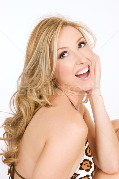 Smiling woman in a bikini swimsuit Stock photo © lovleah