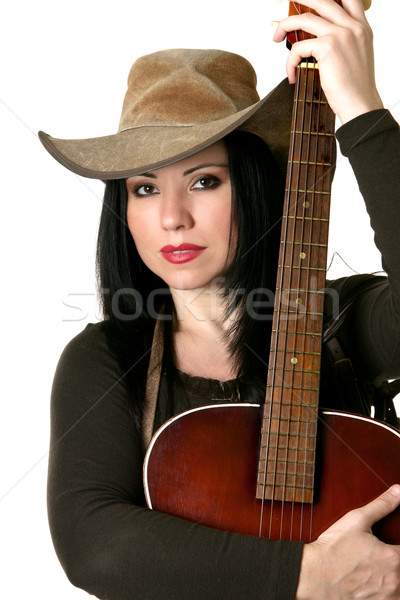 Attractive country woman with acoustic guitar Stock photo © lovleah