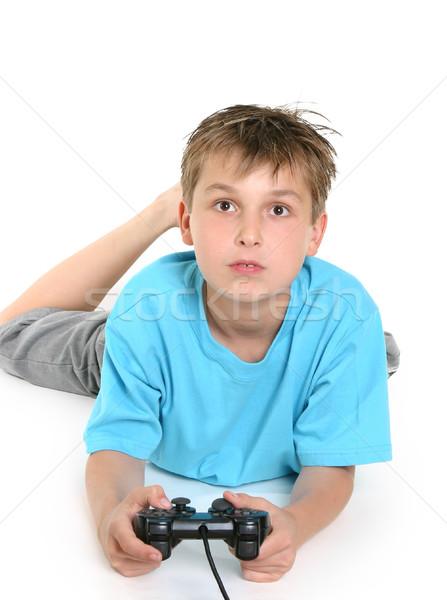 Enfant jouer ordinateur jeux garçon étage Photo stock © lovleah