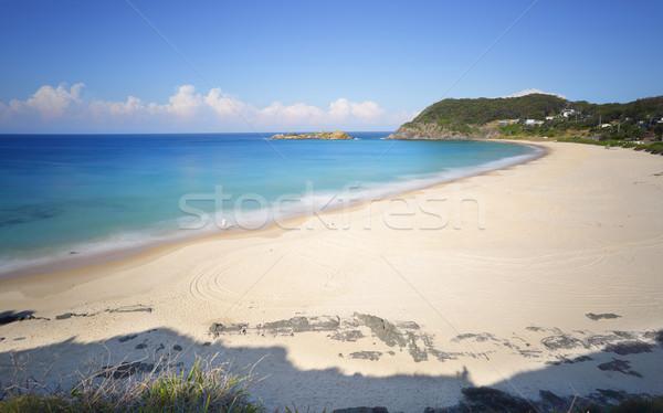 Csónak tengerpart festői kő késő délután Stock fotó © lovleah