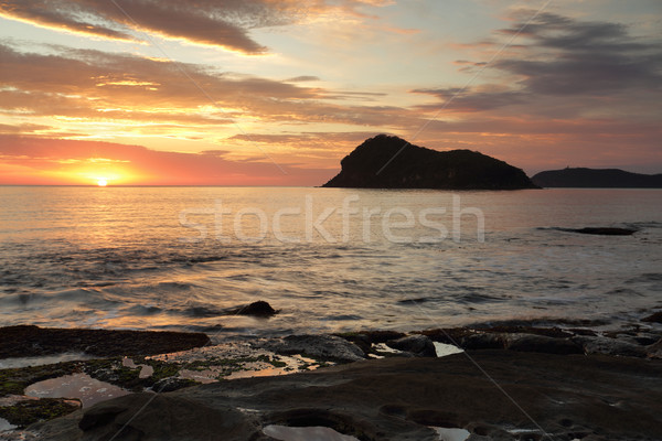 Summer sunrise views across to Lion island, Australia Stock photo © lovleah