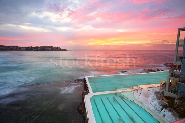 Ausztrália déli tengerpart égbolt felhők épület Stock fotó © lovleah