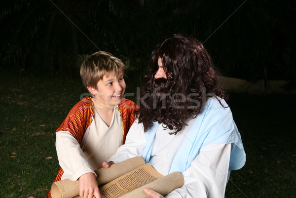 Aprendizaje feliz nino adulto otro religiosas Foto stock © lovleah