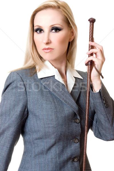 Lovas stílus nő visel szürke kabát Stock fotó © lovleah