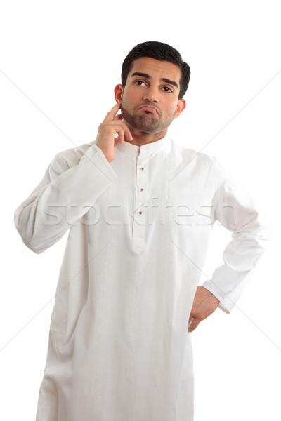 Aggódó problémás kisebbségi férfi visel közel-keleti Stock fotó © lovleah