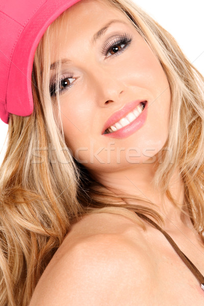 Smiling woman with long blond hair Stock photo © lovleah