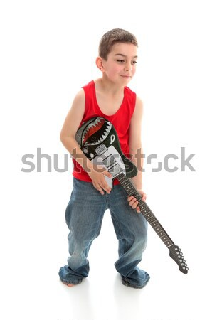 Kicsi zenész játszik gitár fiú fehér Stock fotó © lovleah