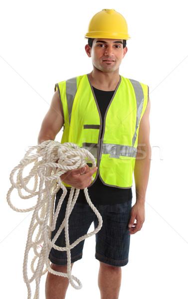 Builder Arbeitnehmer Handwerker Bauarbeiter tragen Sicherheit Stock foto © lovleah