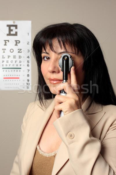 Optometrista visão verificar olhos mulher médico Foto stock © lovleah