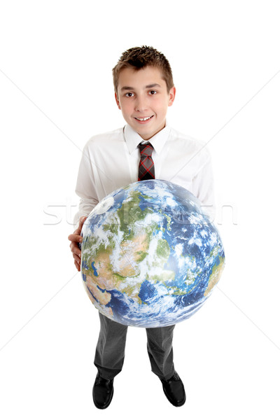 Smiling boy holding the world earth Stock photo © lovleah
