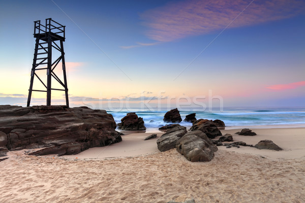 Shark Watch Tower and jagged rocks  Australia Stock photo © lovleah